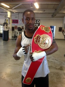 Darren Hamilton with the MBC International belt that gym mate Marianne Marston challenges for on the 25th October
