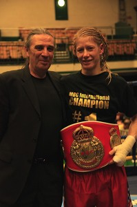 MBC Vice President Gianluca Di Caro with new MBC International Champion Marianne Marston at York Hall in London - Photo Clare Newton